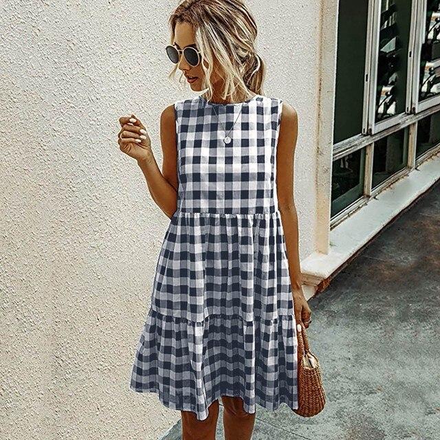 Women Summer Dresses Plaid Sleeveless Casual Sundress A Line Mini Dress Pocket O Neck Loose Beach Dresses Vestidos De Verano 4