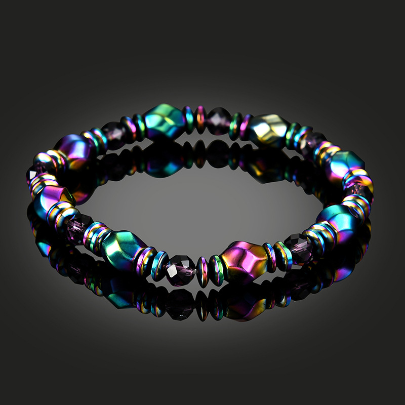 NJ Colorful  Woman Beaded Bracelet Nature Lodestone Magnetic Ladies Friend Gift Charm Strand Jewelry Good For Healthy