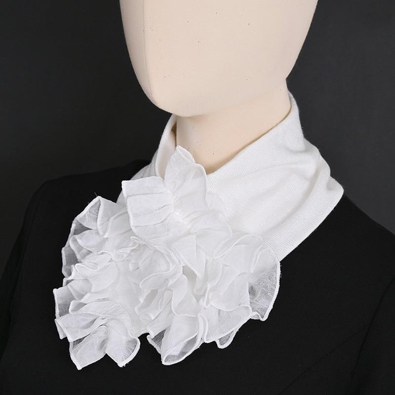 Vintage White Fake Collar Shirt Knitted Flounce Shirt Fake False Collar Women Black Removalble Scarf Detachable Collar Necklace