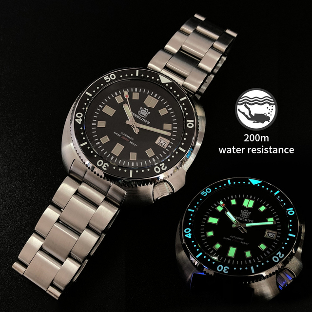$ US $124.34 1970 Abalone Dive Watch 200M Waterproof automatic watch men Sapphire Crystal Stainless Steel NH35 Automatic Mechanical Watch men