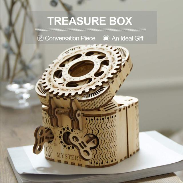 Robotime 123pcs Creative DIY 3D Treasure Box Wooden Puzzle Game Assembly Toy Gift for Children Teens Adult LK502 2