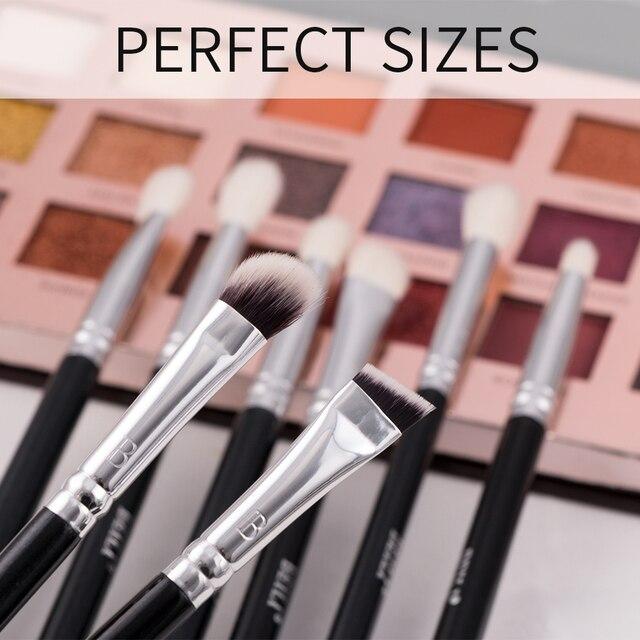 BEILI 8pcs Classic Black Pro makeup brushes Goat synthetic Hair Eye shadow Brow Blending smoky Makeup Brush Set 4