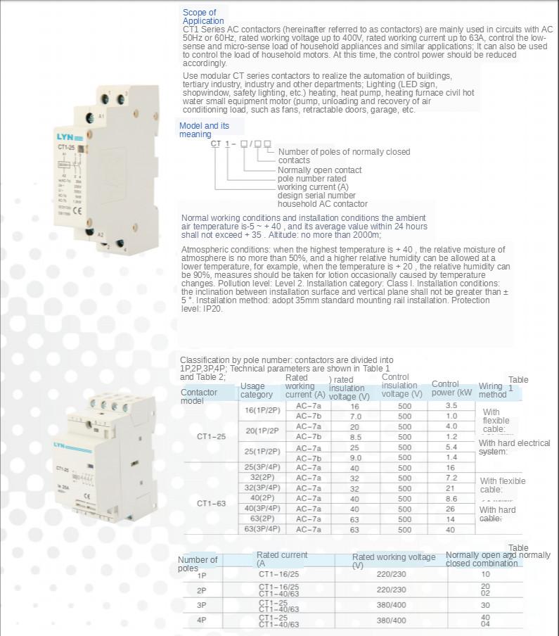 H4a618cf75d0c4016b0c5ddc0ed28c437K - 1PCS CT1-25 16A 20A 25A 32A 2P 2NO 2P 4P 4NO CT1-63 32A 40A 63A 230v 50/60HZ Din Rail Household AC Contactor