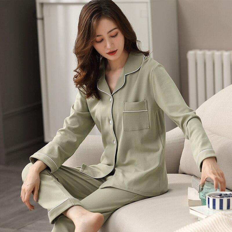 Women 100% Cotton Pajamas Spring Green Sleepwear Ladies Dormir Pijamas Mujer Bedroom Home Clothes Pure Cotton Pyjamas Femme PJ
