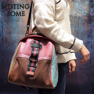 Image 4 - Vintage Genuine Leather Backpack Women Real Leather Retro Style Patchwork Travel Shoulder Bags School Ladies Mochilas 2020 New