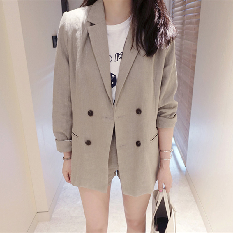 2020 Spring New Women Suits Office Lady Linen Blazer Tops And Shorts Notched Long Sleeve Fashion Two Pieces Set Clothes D947