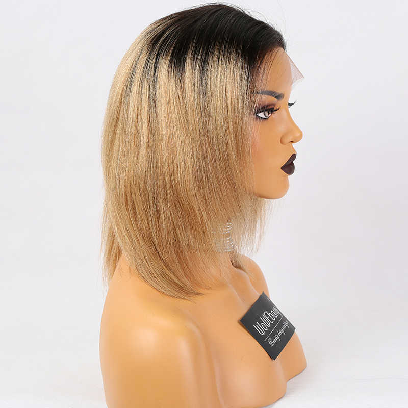 Ombre Human Hair Wig Lace Front Human Hair Wigs Yaki Straight #1B 27 Color Brazilian Remy Bob Lace Front Wigs 150% Density