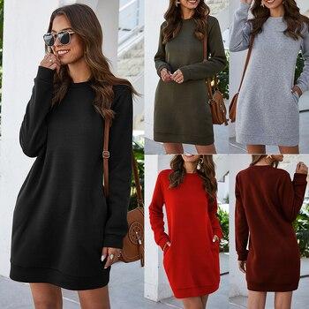 Платье для женщин толстовка теплая детская одежда с длинным рукавом на осень и зиму; Большие Размеры с О-образным вырезом теплые свободные однотонные Цвет Карманные женские платья 2020 модная новинка
