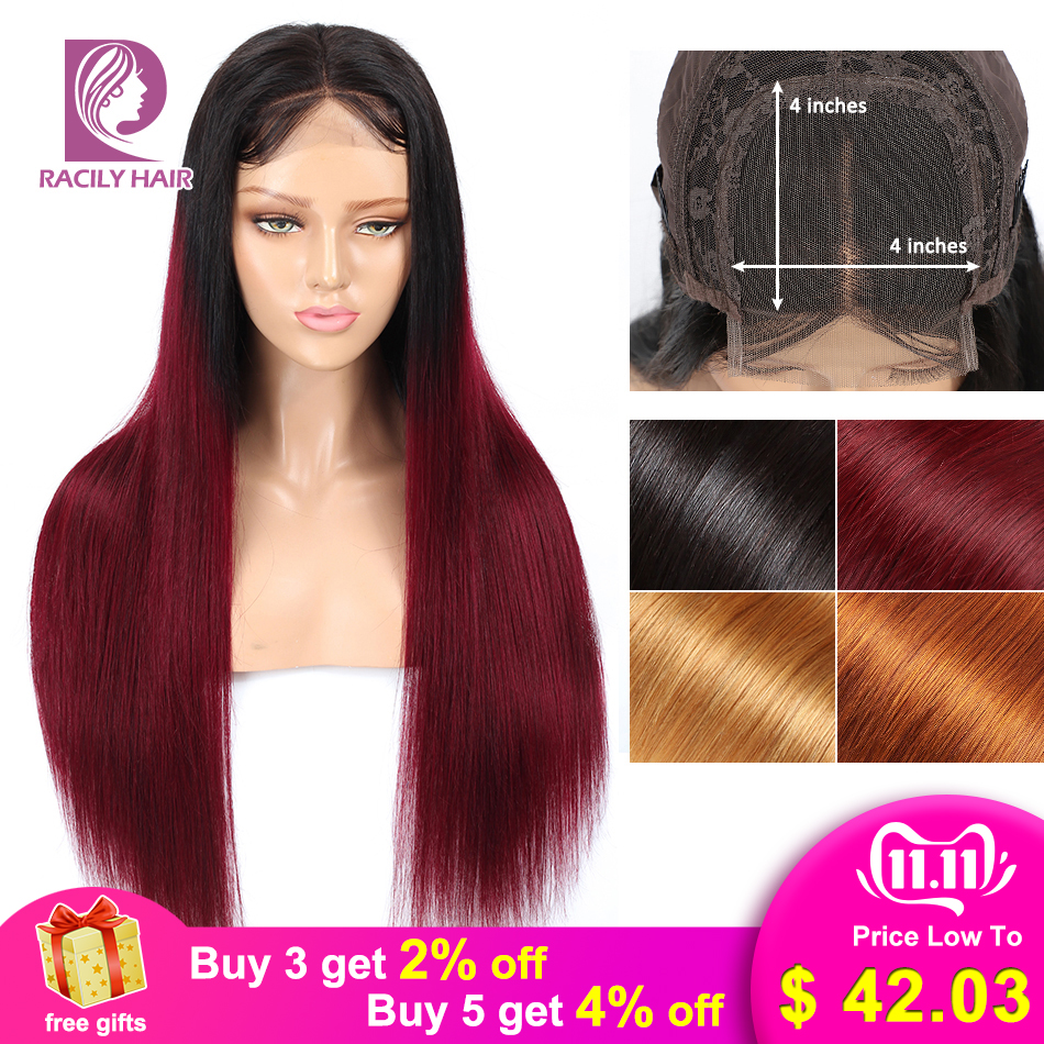 Racily Hair 4x4 Lace Closure Wig Glueless Lace Closure Human Hair Wigs For Black Women Ombre Human Hair Wigs Remy Brazilian Wig