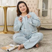 Plus size 5xl algodão pijamas conjuntos feminino sleepwear primavera doce bonito 100% algodão manga comprida pijama feminino 78223