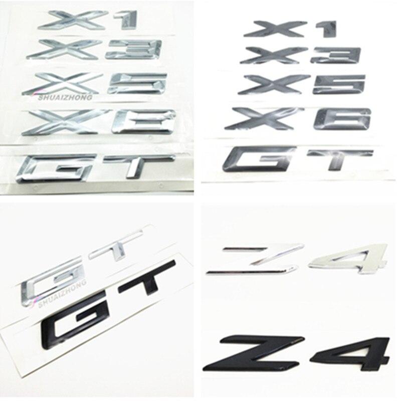 Высококачественные хромированные серебристые или черные наклейки X-series X1 X3 X5 X6 GT Z4 для автомобильного стайлинга, наклейки, эмблема заднего б...