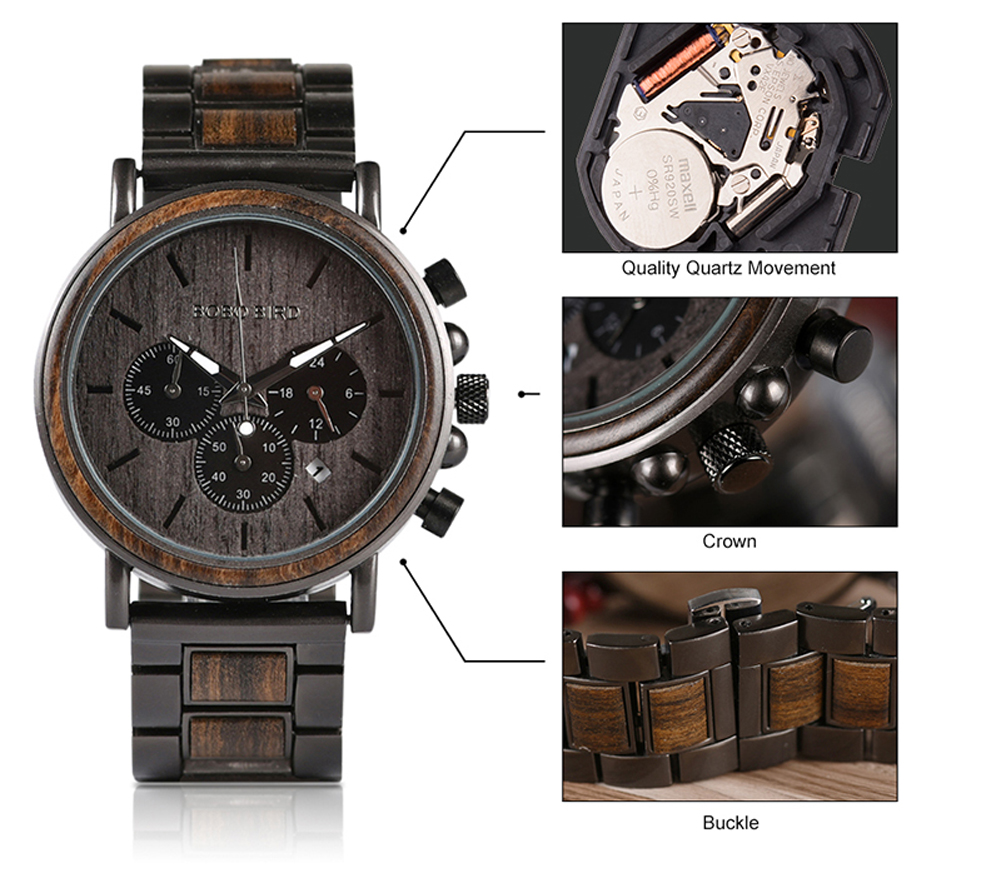 BOBO BIRD Luxury Wood Stainless Steel Men Watch Stylish Wooden Timepieces Chronograph Quartz Watches relogio masculino Gift Man H4a61eeac8e9d468681a692a844d9b8f5o