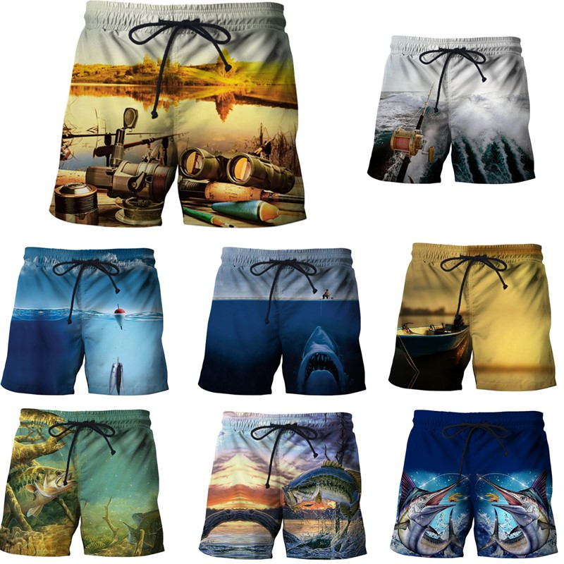 EAnvog Fishing 3D Printed S-5XL Elastic Waist Beach Shorts Unisex Special Summer Board Shorts Watersport Men's Shorts Trousers