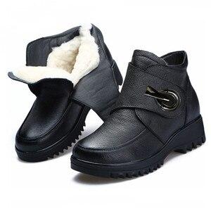 Женские ботинки из натуральной воловьей кожи, теплые зимние ботинки на плоской платформе, с плюшевой подкладкой, 2020