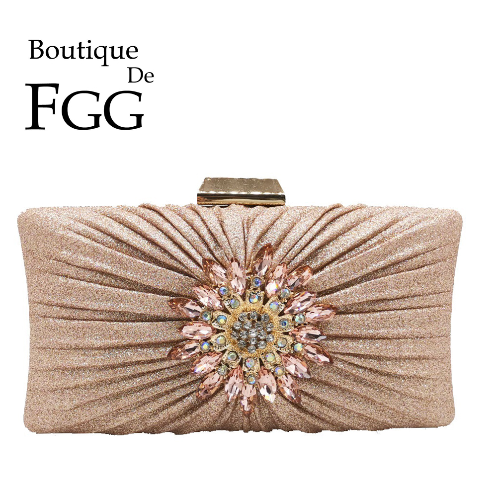 Boutique De FGG Elegant Women Flower Evening Bags and Clutches Champagne Satin Wedding Handbags Bridal Party Bags    -