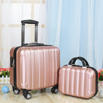 Women trolley luggage bag set travel suitcase with wheels kid's 18 inch Cabin carry on rolling luggage set fashion suitcase set