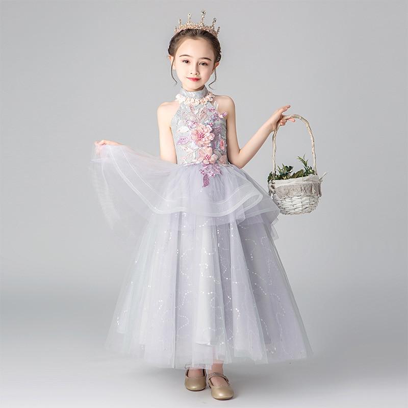 Children's   dress   princess   dress   2019 new fluffy small host   girl   piano performance catwalk   flower     girl     dress