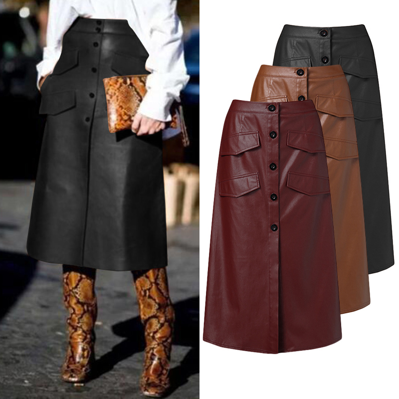 Women's PU Leather Vestidos ZANZEA 2020 Stylish Button Skirts High Waist Split Pockets Midi Skirts Female Solid Robe Oversized