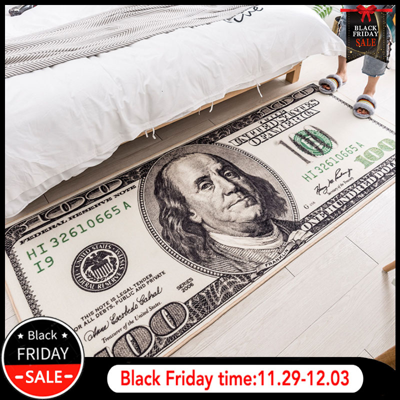 RFWCAK Creative USA Dollar 3D Carpet For Living Room Area Rug Floor Mat Bedside Hallway Doormat Kids Bedroom Rug Decoration Home