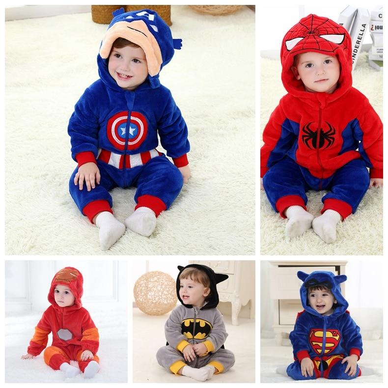 Baby Autumn Clothes Boy&Girl Romper Infant Toddler Homewear Kids Cartoon Nightwear Children Halloween Costume Marvel Hero Outfit