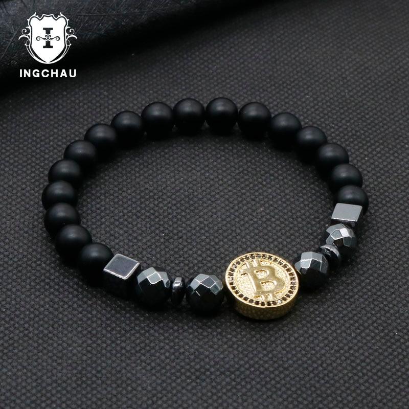 2019 Fashion Luxury Bitcoin Bracelet Men Black Hematite Stone Charm Bracelets For Men Best Friend Gift Pulseira Masculina BT-12 1