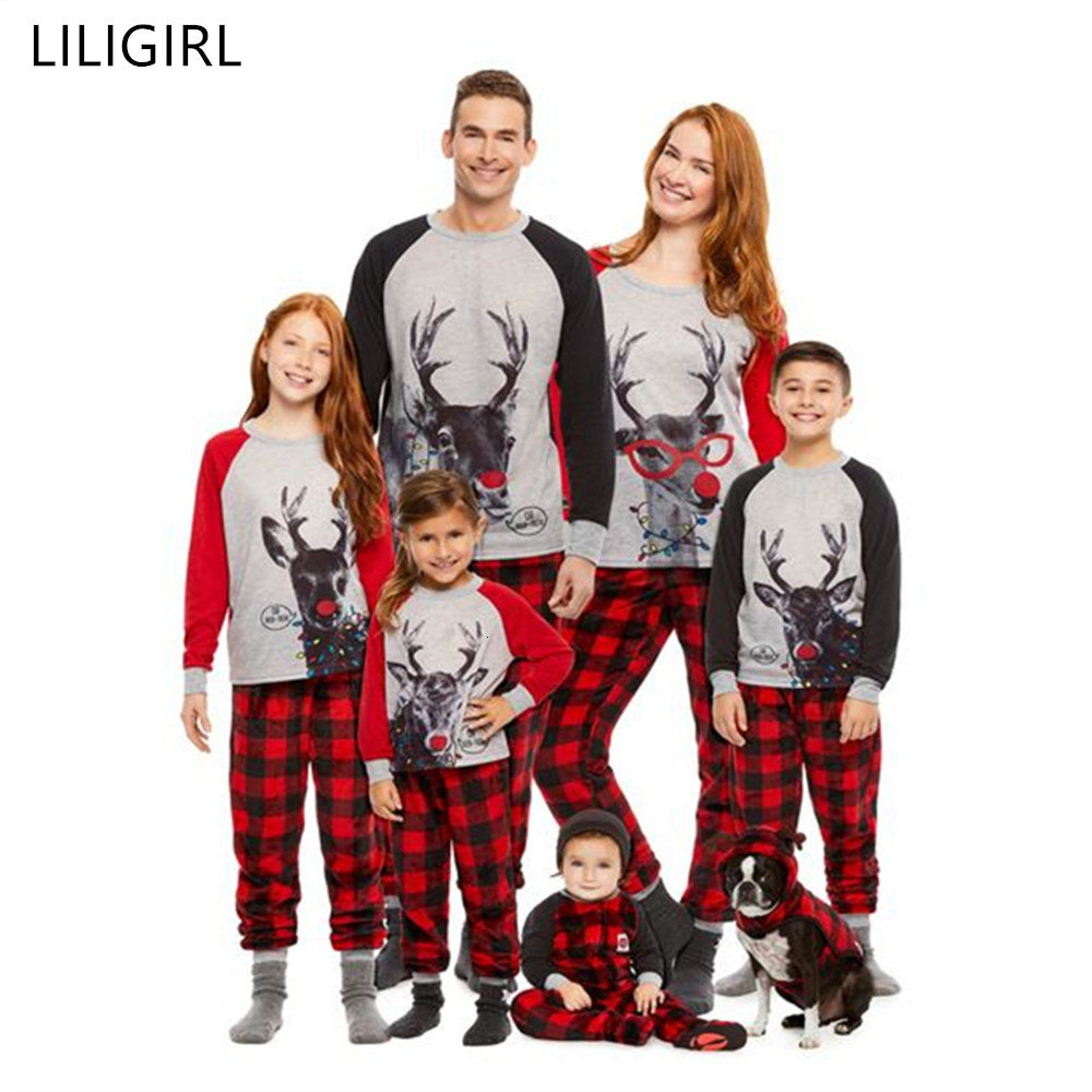 Cotton Family Match Christmas Pajamas Suit 2019 New Xmas Mom Dad Kid Baby Sleepwear Nightwear Homewear Family Matching Pjs Set