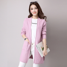 Autumn Women Casual Knitted Cardigans Pure Colour Pink White Gray Black Sweaters Woman Open Stitch Wool Blend Textured Knitwear