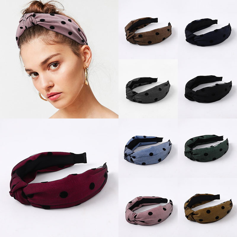 Dot Lace Yarn Cross Knotted Headbands Hair Accessories Hair Band Fashion Headwear Head Band Bezel For Female Drop Shipping