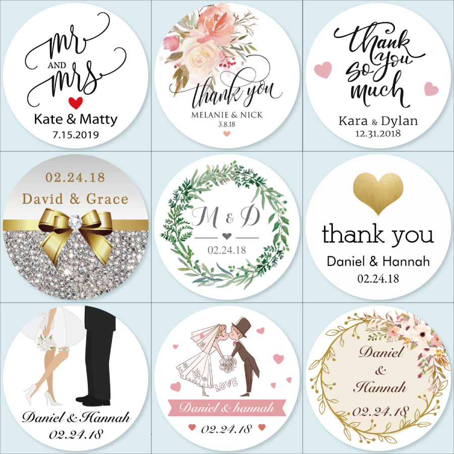 100 Personalised Heart Shaped Kraft Rustic Thank you Stickers Wedding