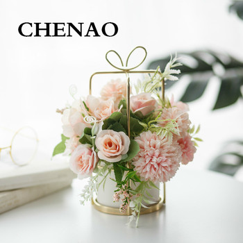 CHENAO Butterfly Metal Base Hydrangea Pink Silk Peony Potted Plant Indoor Home Decoration Accessories Free Shipping