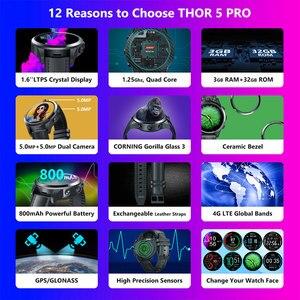 Image 2 - Nieuwe Vlaggenschip Zeblaze Thor 5 Pro Keramische Bezel 3 Gb + 32 Gb Dual Camera 800 Mah Batterij Gps/gezicht Unlock Lederen Bandjes Smart Horloge