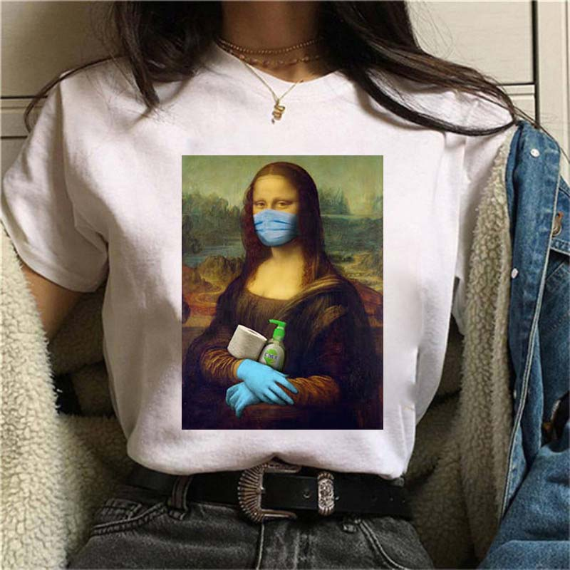 Mona lisa máscara estética harajuku t camisa das mulheres 90s vintage tshirt moda superior t feminino harajuku ullzang engraçado camiseta