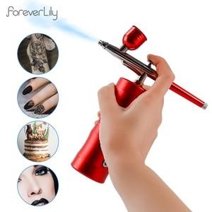 Top 0.3mm Mini Air Compressor Kit Air-Brush paint Spray Gun Airbrush For Nail Art Tattoo Craft Cake nano fog mist sprayer(China)