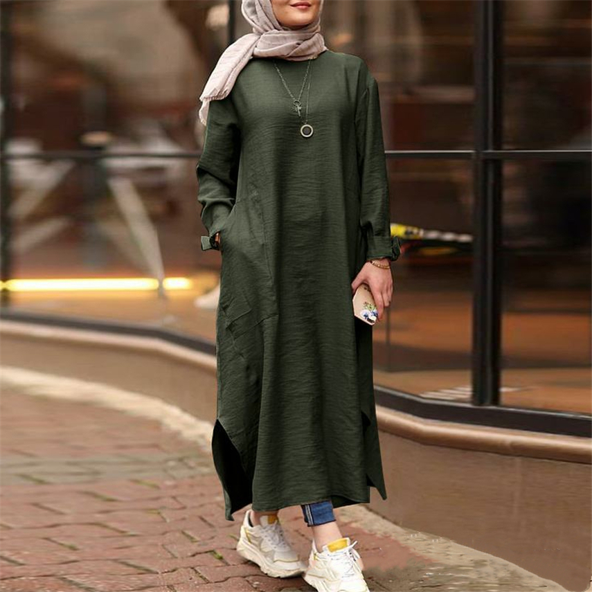 Cotton Linen Women Dress Abaya Indian Dresses Middle East Turkey Kaftan Islamic Clothing Casual Solid Color
