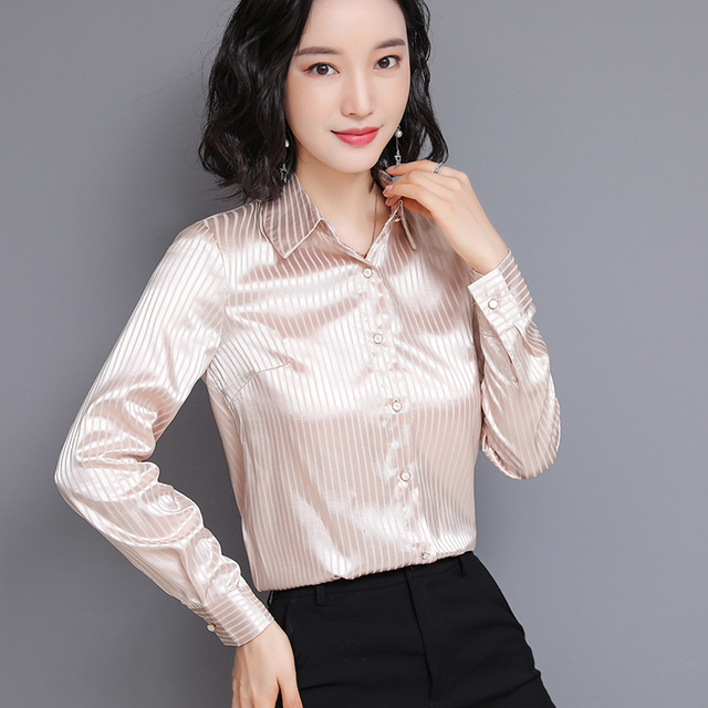 Chikichi 2021 Spring New Ladies Satin Women Shirt Long-sleeved Solid Color Striped Fashion Office Ladies Blouse Plus Size 4XL 1