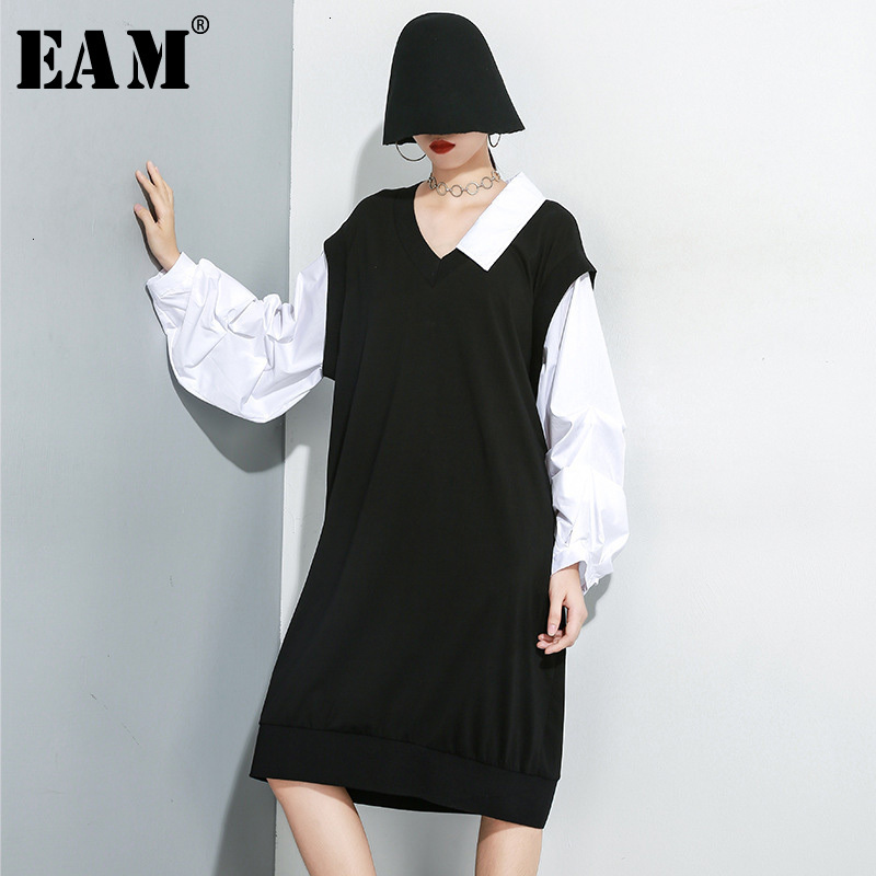[EAM] Women Black Contrast Color Temperament Dress New V-Neck Long Puff Sleeve Loose Fit Fashion Spring Autumn 2019 1H151