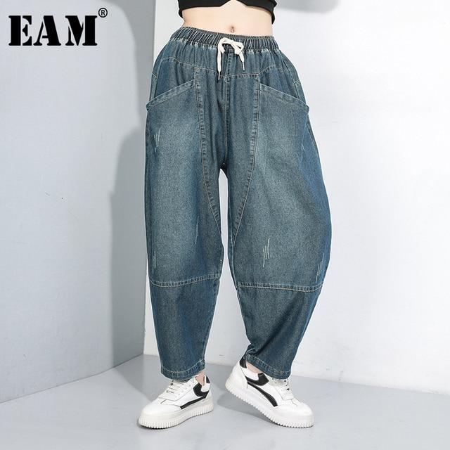 [EAM] 높은 탄성 스플 라이스 포켓 데님 허리 바지 새로운 느슨한 맞는 하렘 바지 여성 패션 조수 봄 가을 2020 1B694