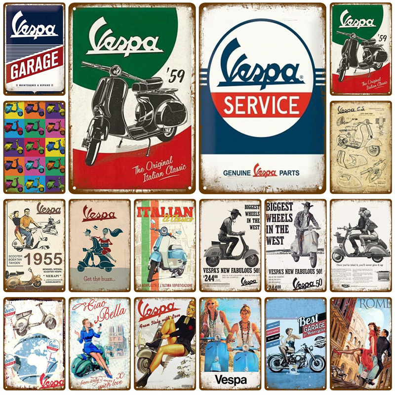 Vespa Motorcycle Pub Bar Decoration Tin Sign Shabby Chic Home Decor Plaque Metal Sign Wall Poster Vintage Decor Art Vintage
