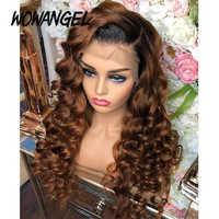 Wowangel-pelucas de cabello humano con malla frontal transparente 1B30, suelto, ondas profundas, 13x6, color rubio degradado, Remy brasileño