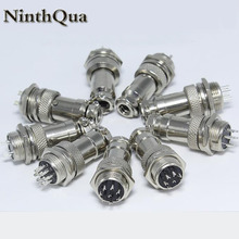 1Set GX16 2 3 4 5 6 7 8 9 10P Pins 16mm Male&Female Wire Panel Connector Plug Circular Aviation Connector Socket Plug with cap
