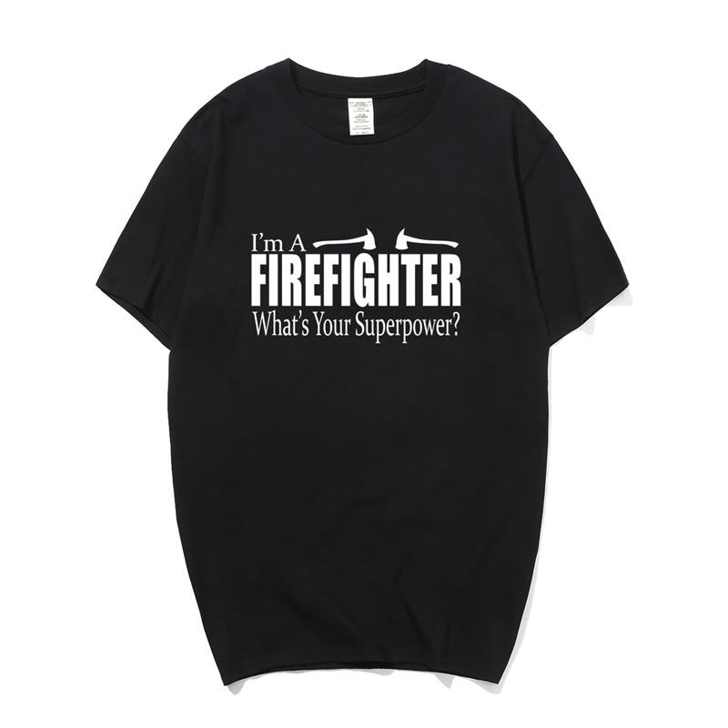 Я пожарный Whats Your Superpower футболки забавные для мужчин короткий рукав хлопок футболка Пожарник пожарный человек футболка PY-127