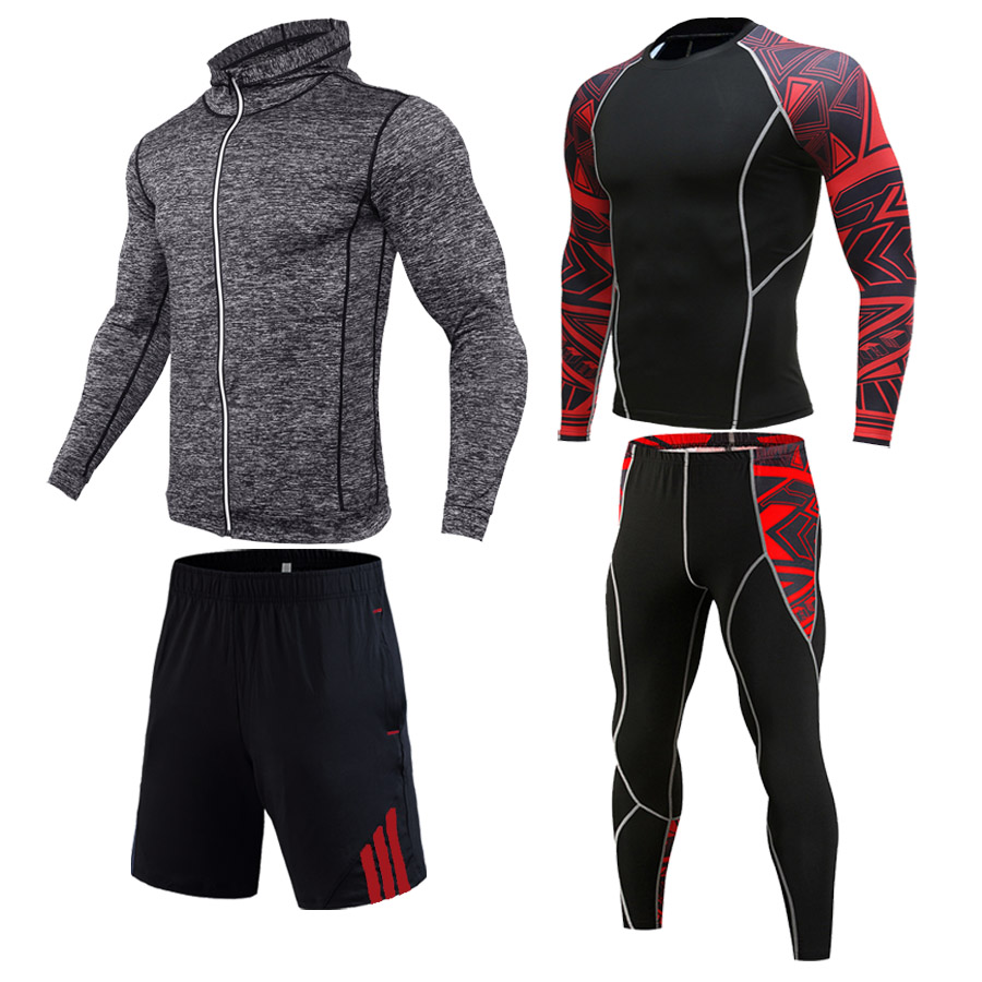Men's Gym Set  Compression Clothing  Sports Shorts Leggings Sweatshirt Long Sleeve T-shirt 1-4 Piece Free Combination Track Suit
