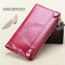 GROJITOO Double zipper first layer oil wax cowhide women's long wallet fashion simple wallet card bag  coin purse