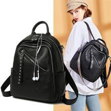 цены Fashion Cow Leather Backpacks for Women Shoulder Bag Casual Daypack Girls Travel Bags Genuine Leather Backpacks