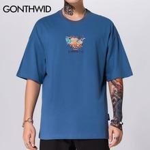 GONTHWID Embroidery Ramen Chinese Character Short Sleeve Tshirts Harajuku Casual T Shirts Hip Hop Streetwear Tops Tees Fashion