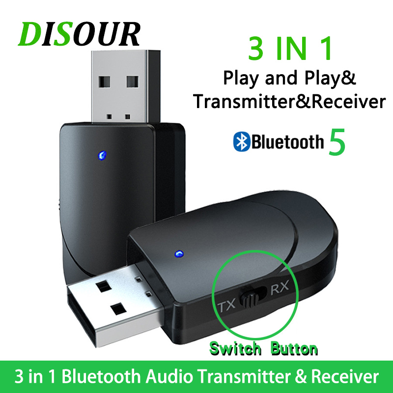 KN330 3 IN 1 USB Bluetooh 5.0 Audio Receiver Transmitter 3.5 AUX Jack RCA Stereo Wireless Bluetooth Adapter For TV PC Car Music