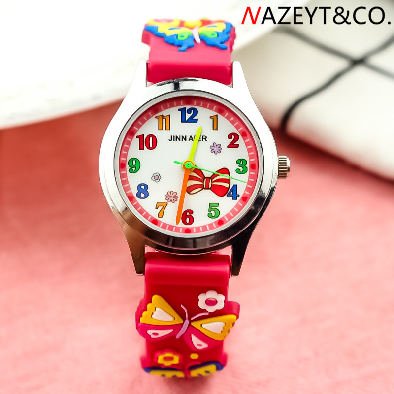 NAZEYT Children Jelly Watch Little Boys Girls Cute 3D Butterfly Silicon Strap Bow-knot Face Cartoon Wristwatch Kids Candy Clock