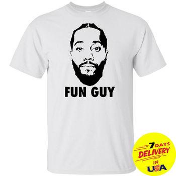 White Shirt Kawhi Leonard FUN GUY T Shirt Short Sleeve T shirt Men Black Short Sleeve Cotton Hip Hop T-Shirt Print Tee