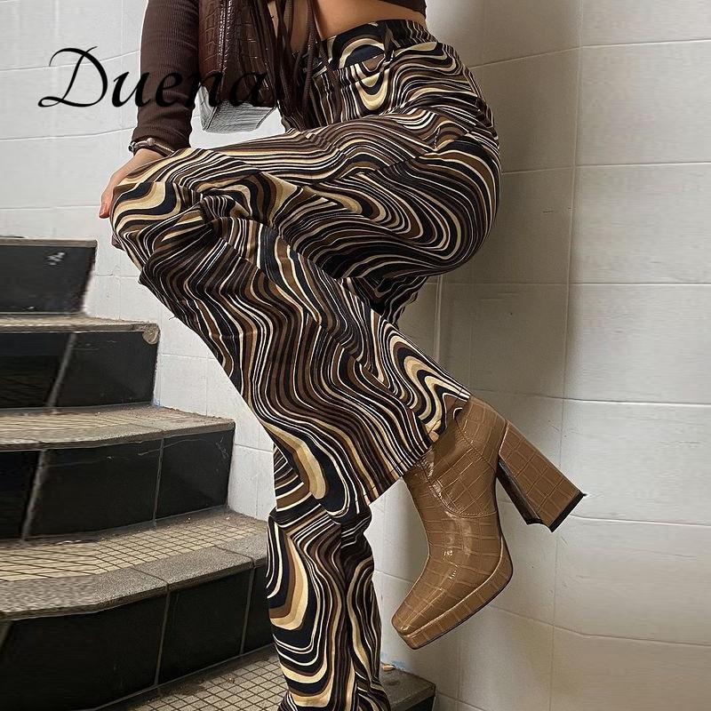 Duena галстук-краска для брюк коричневые брюки-клеш Y2K летней детской одежды, для детей возрастом от 2021 шик с принтом штаны с высокой посадкой у...