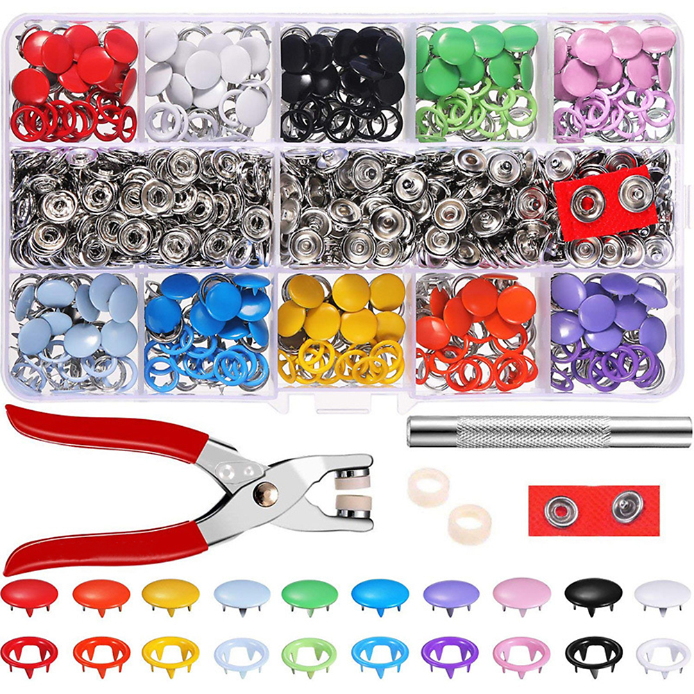 100% True Sewing Accessories U Shape Fastener Snap Pliers 360pcs Plastic Resin Snap Buttons Mounting Snaps Pliers Knitting Sewing Tools 100% Guarantee